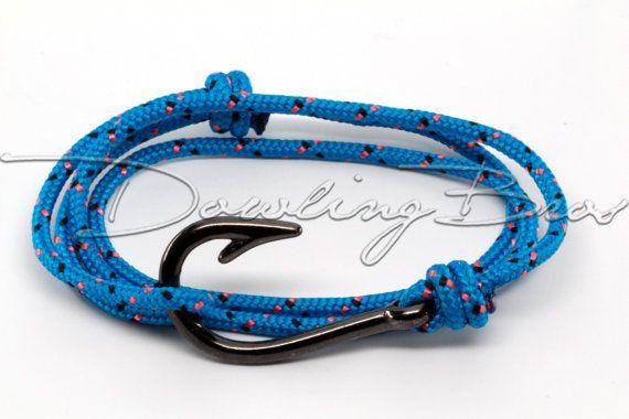 Blue nautical black fish hook bracelet for men women for Mens fishing bracelet