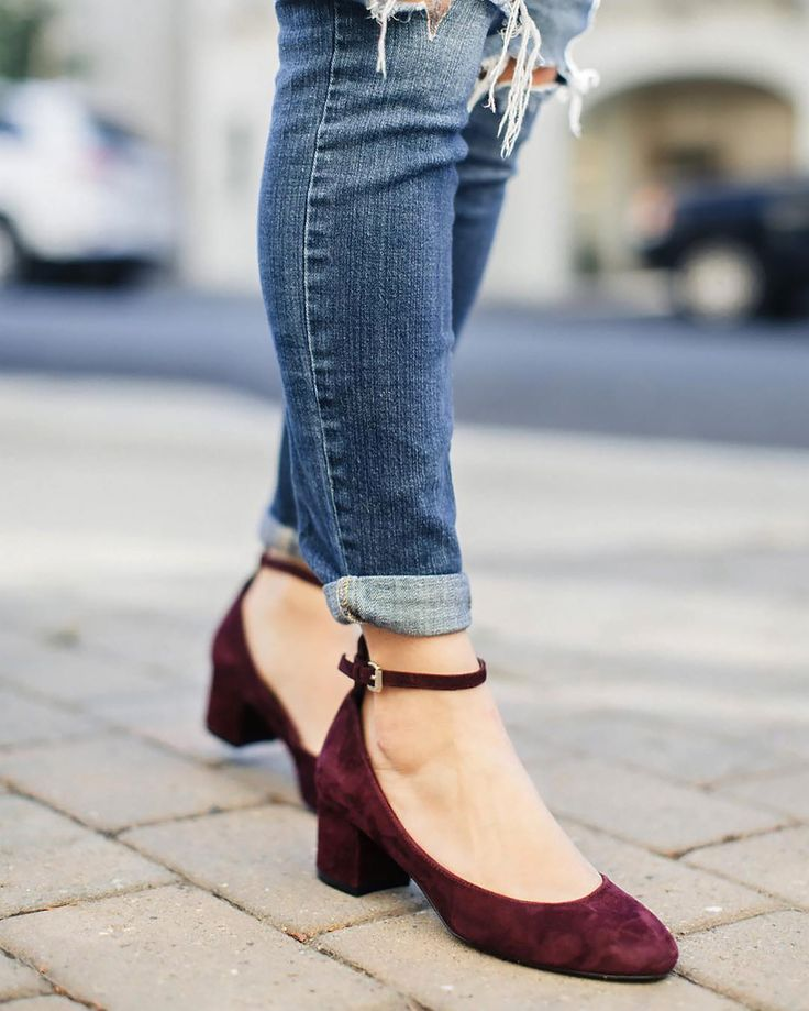 Add some prep to your step. Take a cue from @sassyredlipstick and pair polished ankle strap heels with distressed denim. #StylistTip #regram