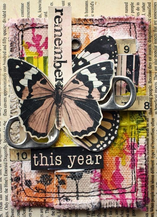 ATC collage card ... butterflies, soda can tabs, book paper, canvas and more...