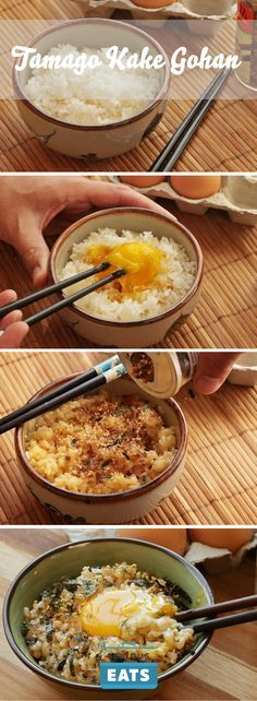 "Tamago gohan (literally ""egg rice"")—rice mixed with a raw egg—is Japanese comfort food at its simplest."