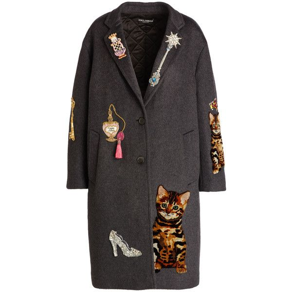 Dolce & Gabbana Whimsical-Embellished Cashmere-Blend Coat (582.250 RUB) ❤ liked on Polyvore featuring outerwear, coats, jackets, coats & jackets, oversized coat, cashmere blend coat, grey oversized coat, embellished coat and embroidered coats