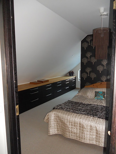 IKEA hack -  low level kitchen cabinets in the bedroom