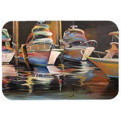 "Caroline's Treasures Sea Chase Deep Sea Fishing Boats Kitchen/Bath Mat Size: 20"" H x 30"" W x 0.25"" D"
