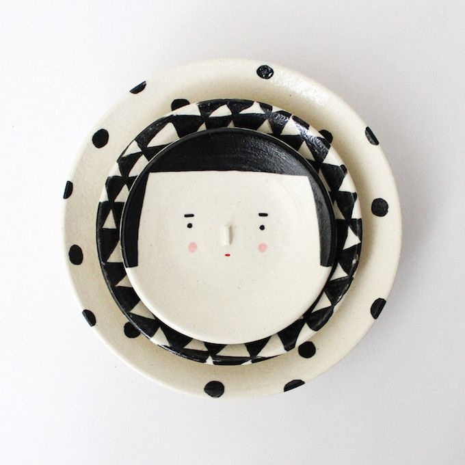 Adorable Face Pots to Brighten Your Day by Polkaros