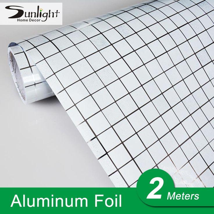 Delightful 2Meters/roll White Vinyl Tile Mosaic Wallpaper PVC Self Adhesive Kitchen  Oil Proof/ Bathroom