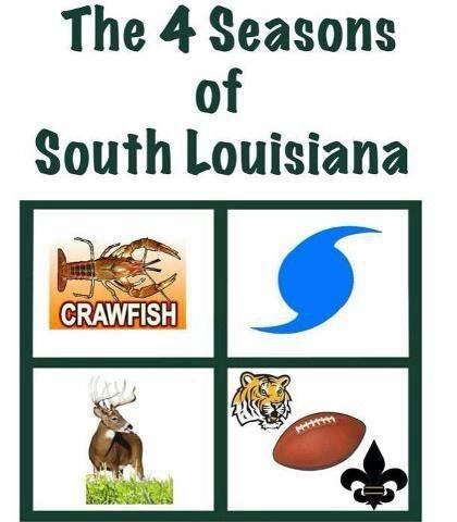 The four seasons of Louisiana:  Crawfish Season, Hurricane Season, Hunting Season & FOOTBALL SEASON!