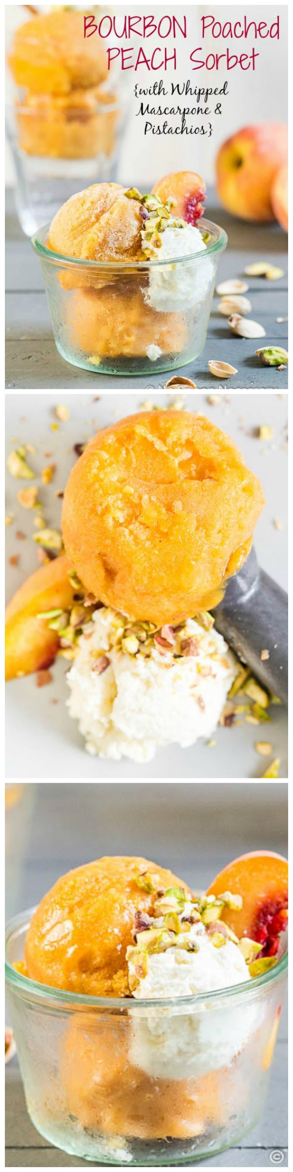 No Churn Bourbon Poached Peach Sorbet with Whipped Bourbon-Mascarpone ...