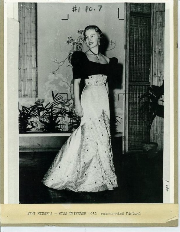 Armi Kuusela, the first Miss Universe, in a Philippine terno
