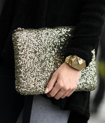 Sequined Zip Handbag