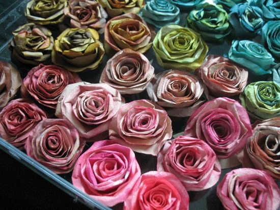 paper roses made from coffee filters