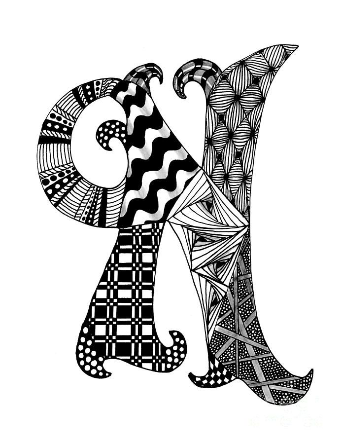 Zentangle Letter N Monogram In Black And White Drawing Zentangle