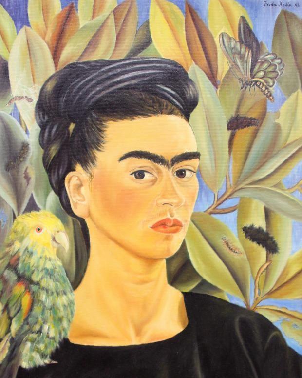 """© Banco de México Diego Rivera & Frida Kahlo Museums Trust / VG Bild-Kunst, Bonn 2016 Die Repliken wurde auf Grundlage von Fotografien, technischen Angaben und Aufzeichnungen der Künstlerin in China angefertig: Frida Kahlos """"Selbstbildnis mit Bonito"""", 1941"""