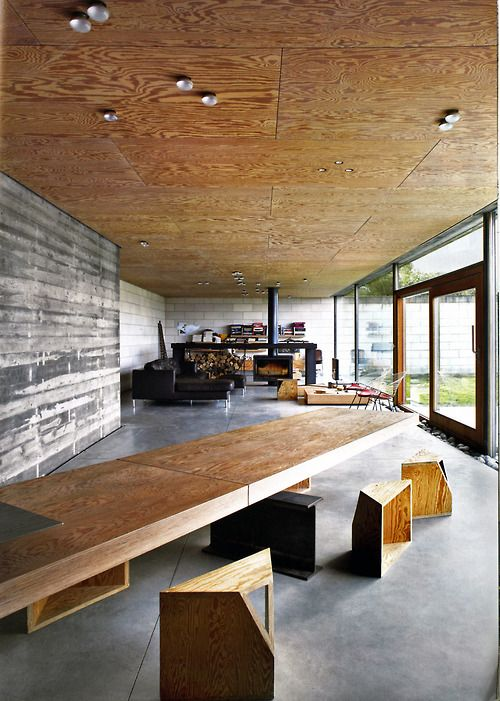 Juliaan Lampens - House Velghe, Vanderlinden, plywood ceiling and concrete structure... hard to beat...