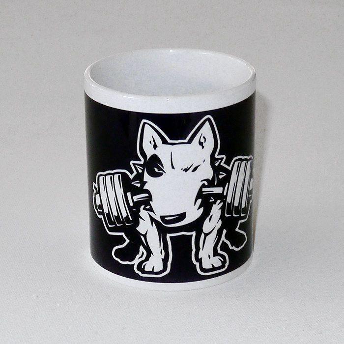 Mug with bull terrier Fitness, Dog Bull Terrier by PSIAKREW on Etsy