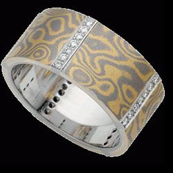 For the guy or girl, C719 18ct yellow and white gold Mokume Gane diamond ring