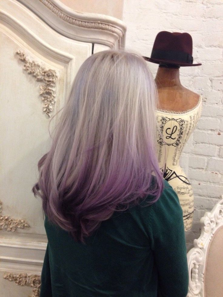 &Hair Lounge - Pearl Ash w purple ombré by Miley - New York, NY, United States