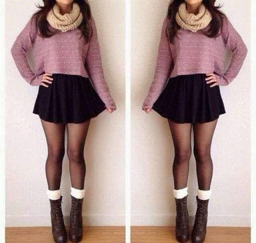 Black mini + sweater + scarf