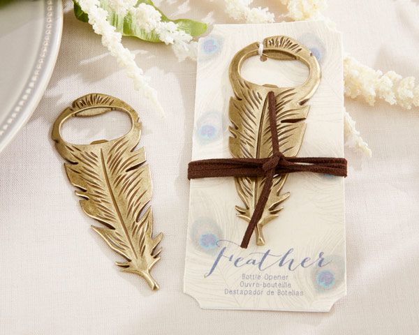 Décapsuleur plume cadeau mariage oriental - Vintage Gold Feather Bottle Opener