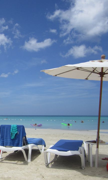 The view every day from my beach chair in Negril, Jamaica. Perfect sand. Flat water at a perfect temperature.