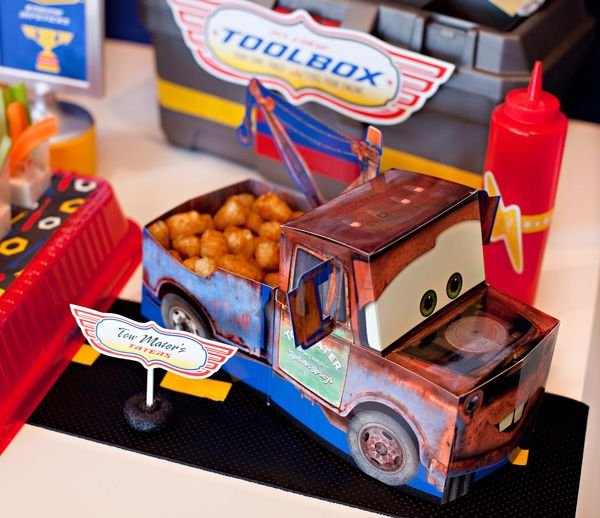 wow- tons of FREE cars Printables- food tags, posters for decor, lightening bolts, cupcake toppers, etc   & lots of pics- great! 10 {Simple & Fun!} Disney Cars Party Food Ideas