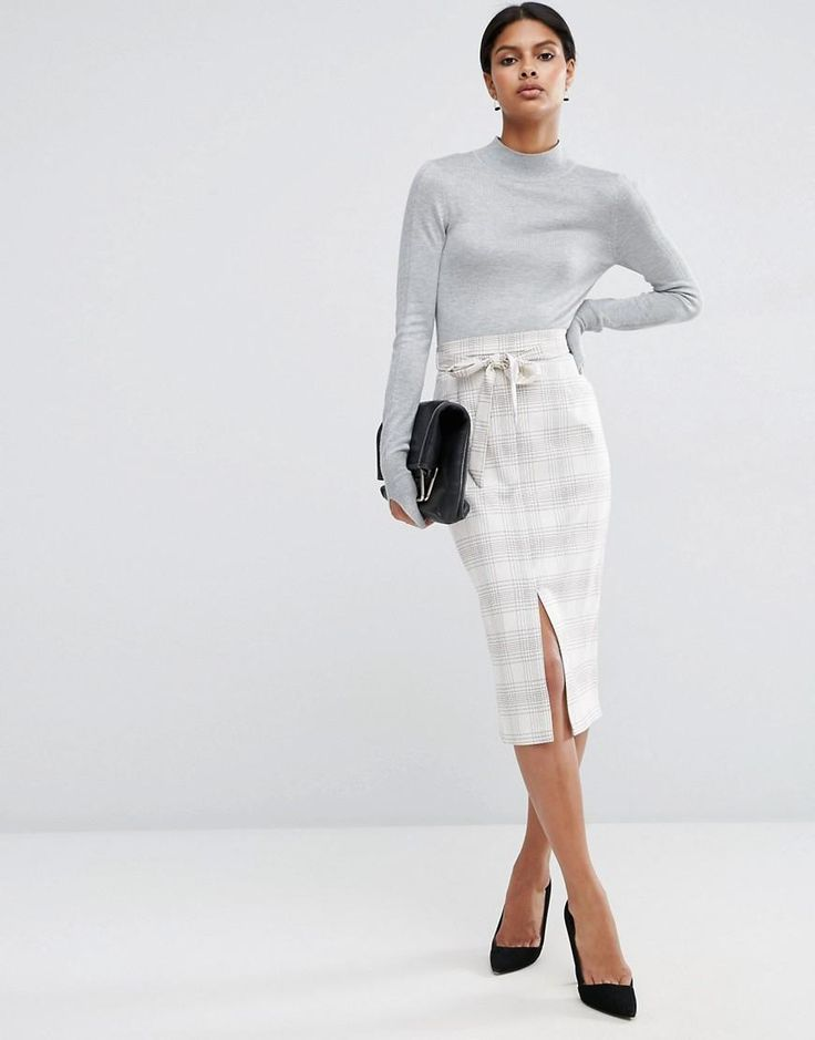 ASOS | ASOS Tailored Pencil Skirt in Graphic Check at ASOS