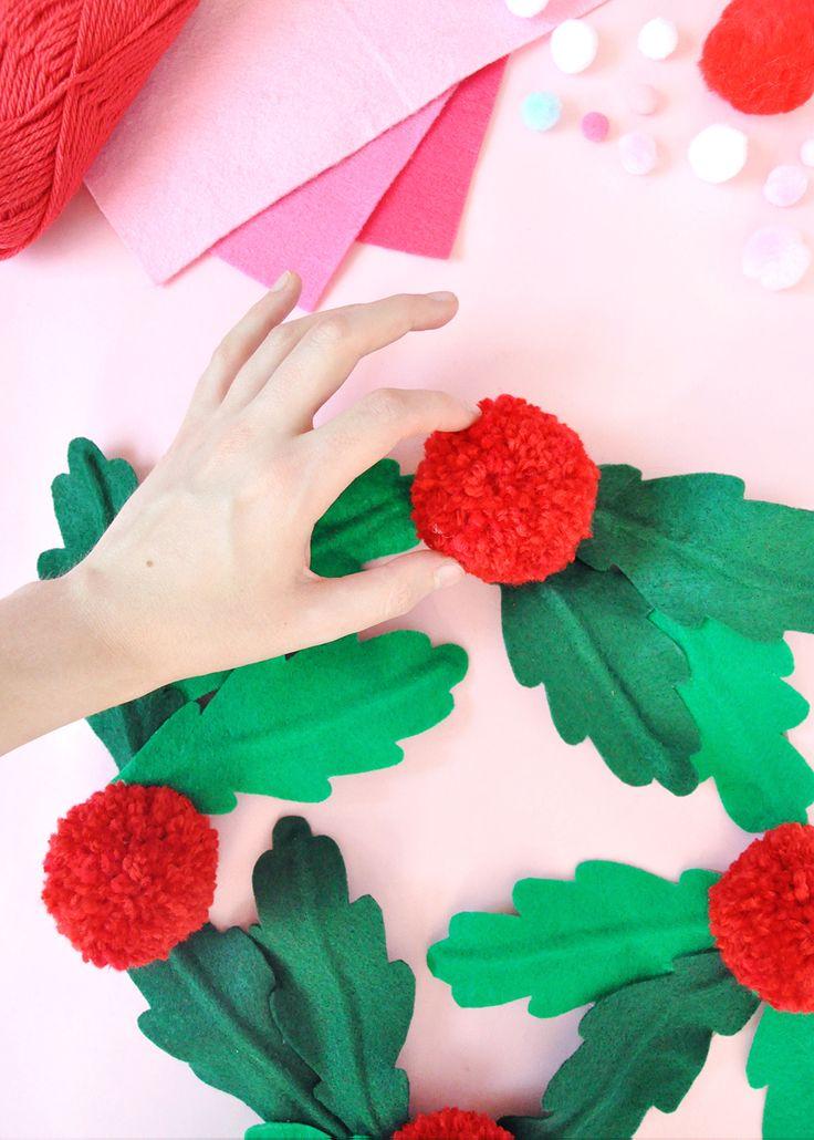 DIY felt and pom pom holly Christmas wreath