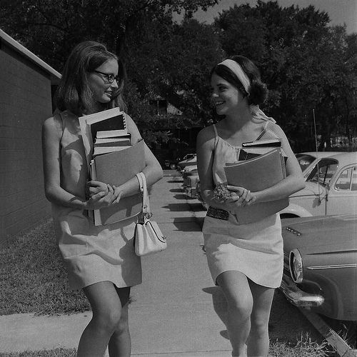 College girls 1st day of school. Kansas, 1969.: Colleges Girls, Girls Books, Schools, Childhood Memories, 60S, Arm Full, Books Back Packs, Books Backpacks, Long Walks