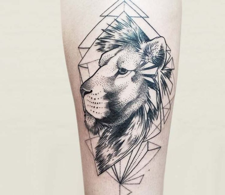 Lion tattoo by Pavla Poppy