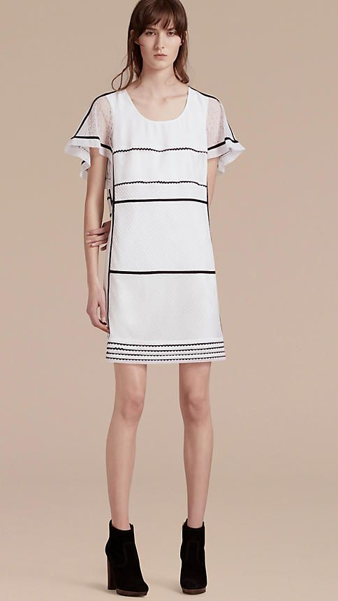 White Fil Coupé and Lace-trimmed Shift Dress - Image 1