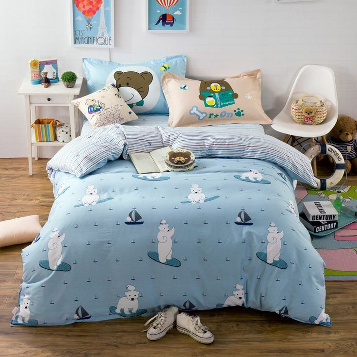 Blue cartoon bedding set queen twin size,100% cotton kids bedding,white bear printed duvet cover pillowcase stripes bed sheet