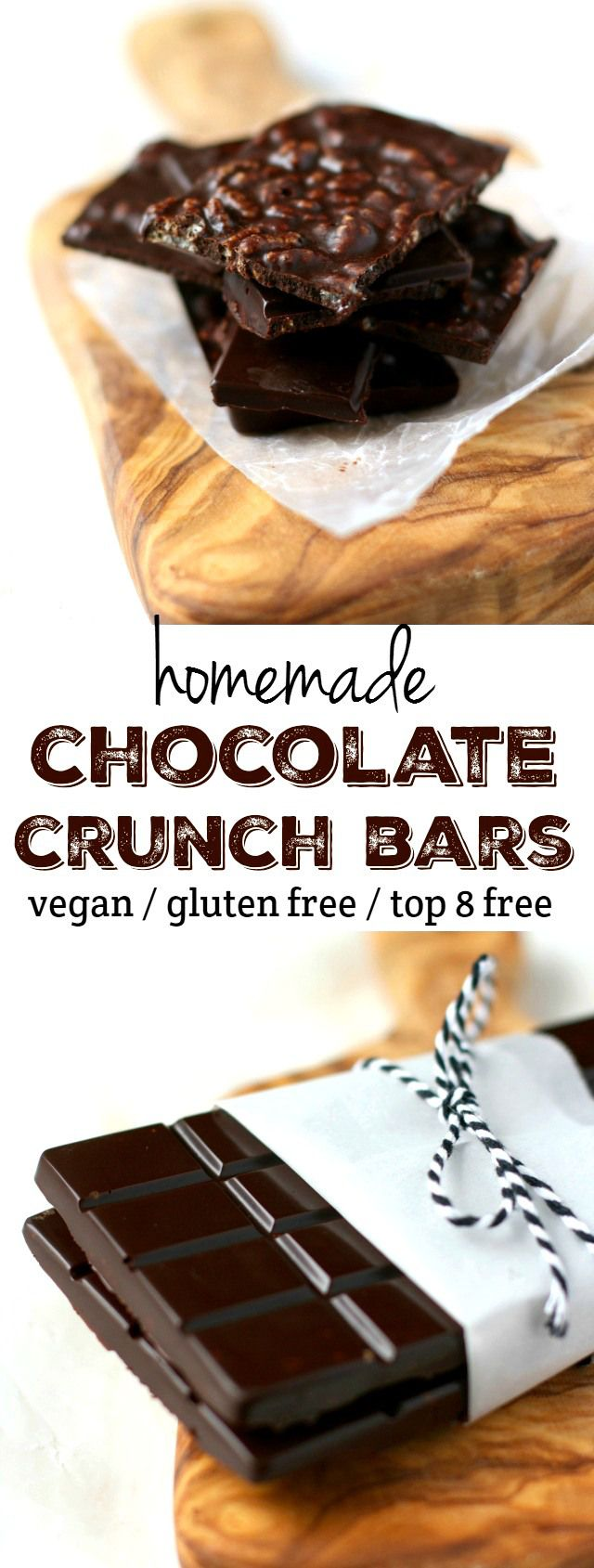 Homemade vegan chocolate crunch bars - these are so tasty and so much fun to make! A delicious version of a classic.