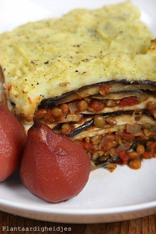 Plantaardigheidjes: Herfstovenschotel met linzen, aubergine en zoete aardappel