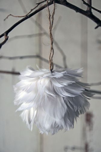 Feather ornaments? I would love these, but in bright colors, so they look like the trees from the Lorax!