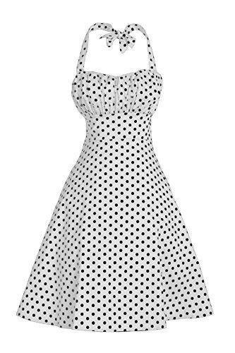 V Fashion Women's Rockabilly 50s Vintage Polka Dots Halte...
