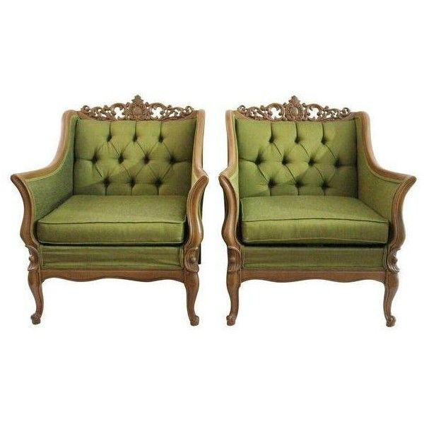Green Tufted Club Chairs- A Pair ($1,325) ❤ liked on Polyvore featuring home, furniture, chairs, accent chairs, pair chairs, set of 2 accent chairs, green accent chair, set of two accent chairs and twin pack