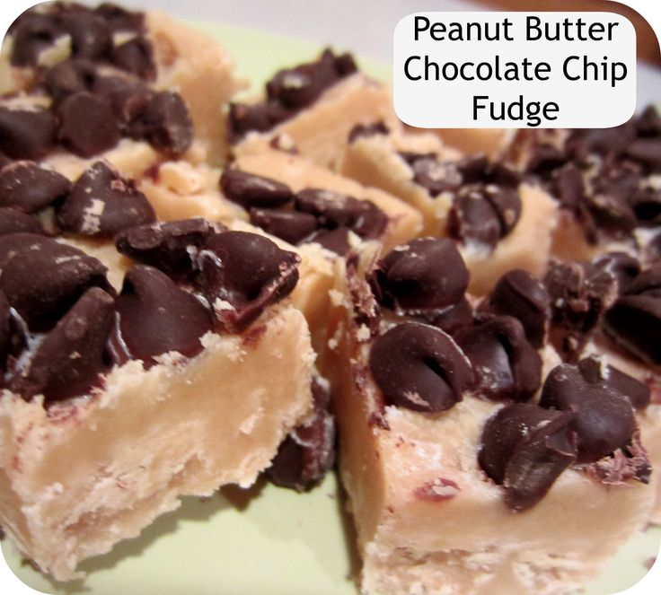 peanut butter chocolate chip fudge-- NO BAKE. ONLY 4 INGREDIENTS.