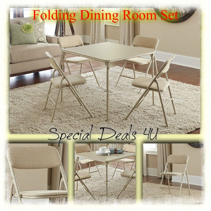 Dining Room Set Table Chairs Modern Kitchen Folding 5 Piece Dinette White Tan #DiningRoomSet #Modern
