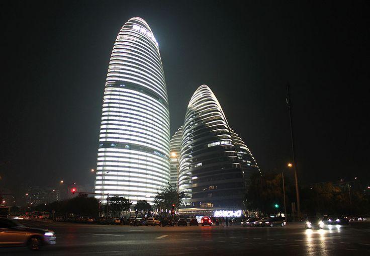 Zaha Hadid apre wangjing SOHO a Pechino, Cina.
