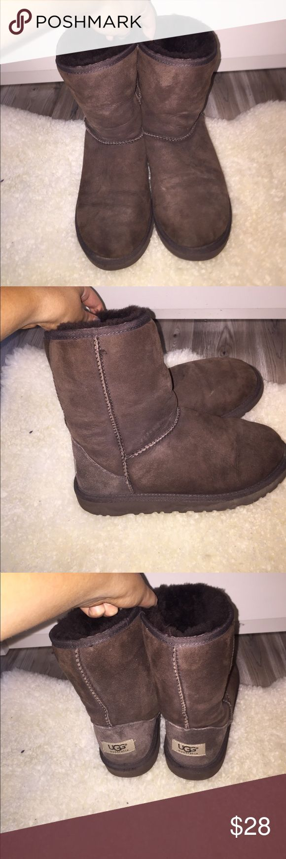 Real UGG boots wormen's US 4 dark brown Real authentic Ugg boats gently worn in chocolate brown US size 4 with brown fur lining no distinct scratches or stains on very good condition price can be negotiated if you make me an offer UGG Shoes Ankle Boots & Booties