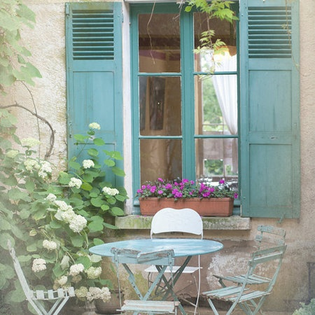 .Country Photos, Bistro Tables, Country Photography,  Terraces, French Country, Blue Bistros, Windows, Patios, Shutters