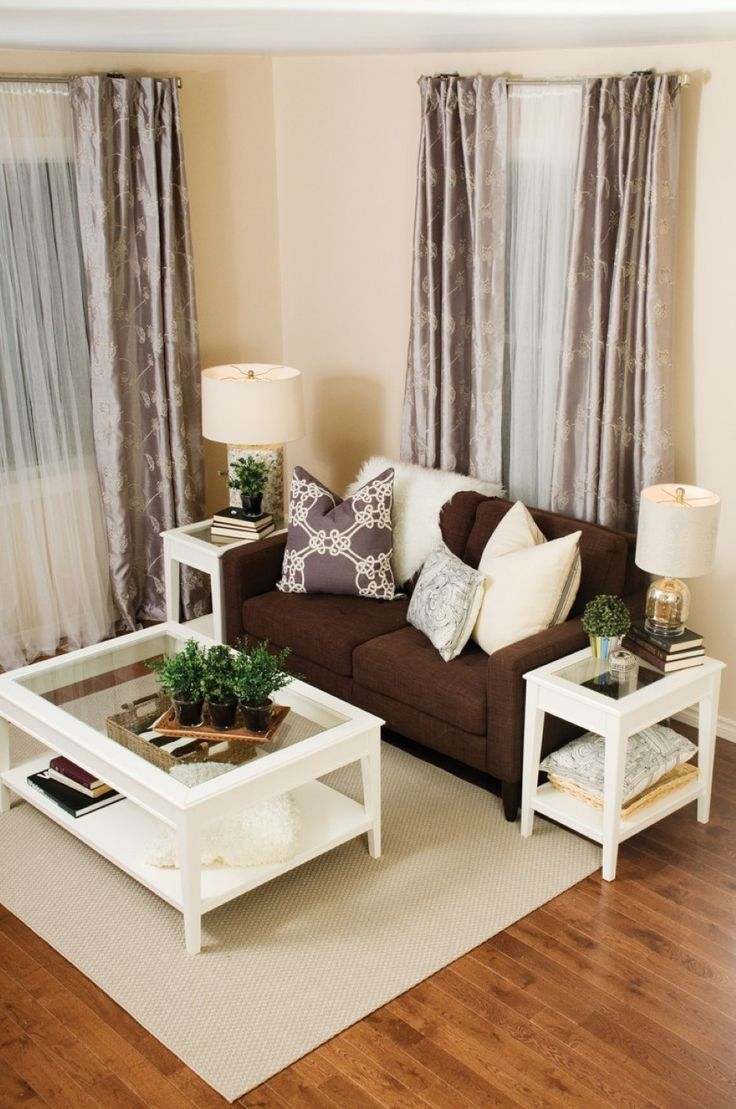 Contemporary Living Room Decor Ideas Brown Couch With The White Coffee Table And Matching End Tables Even Curtains Are Perfect Match