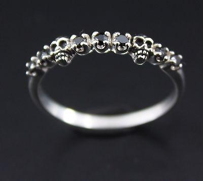 Skull Silver 925 Ring All Size Black Stone Women Rock Lady Punk Gothic Jewelry | eBay