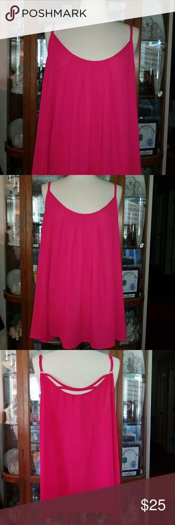 BNWT PLUS SIZE SHEER TANK!!! BNWT plus size SHEER  hot pink tank from Torrid!!!  Has criss cross straps in back that are adjustable!!!  Keep you cool and comfy this summer!!!  Any questions feel free to ask! I love offers and bundles and have a 20% discount to bundles of 3 items or more!! God Bless!! 🤗💖 torrid Tops Tank Tops