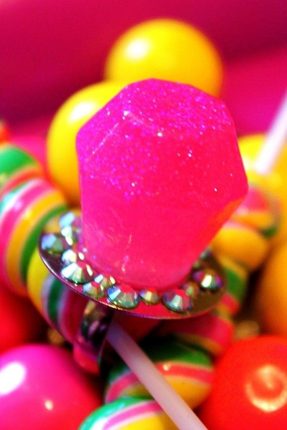Candy Glam Bubble Gum Yum Pink Ring Pop  Resin by athinalabella, $34.00 . I love her work!