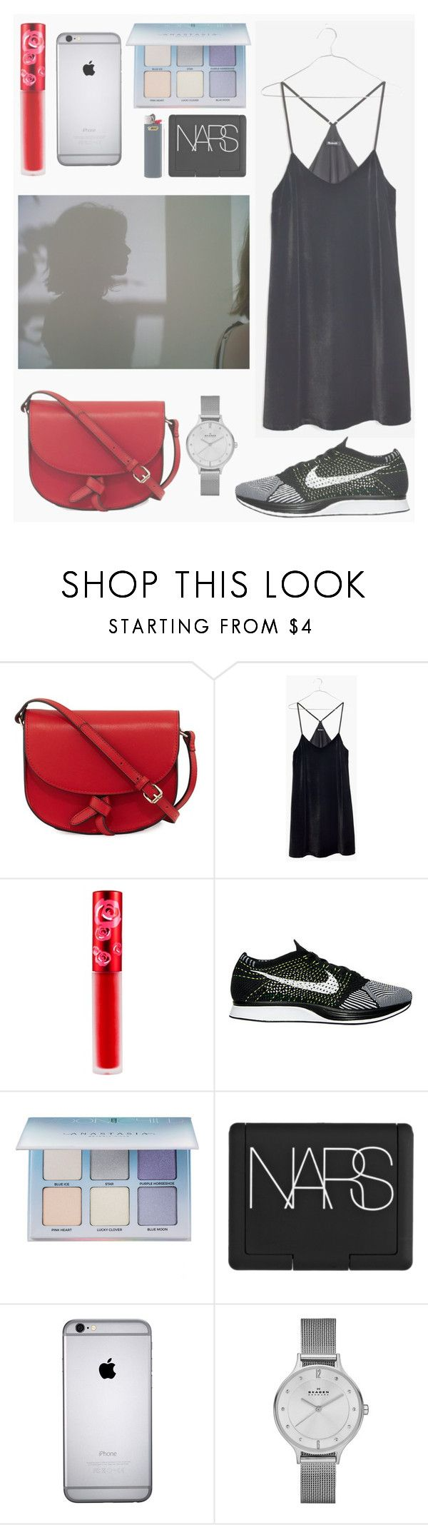 """""""Rachel."""" by the-same-people-hate-me ❤ liked on Polyvore featuring KC Jagger, Madewell, Lime Crime, NIKE, Anastasia Beverly Hills, NARS Cosmetics, Skagen, StreetStyle, soft and retro"""