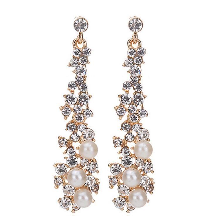 <b>KMVEXO</b> Luxury Simulated Pearl Long <b>Wedding Earrings</b> For ...
