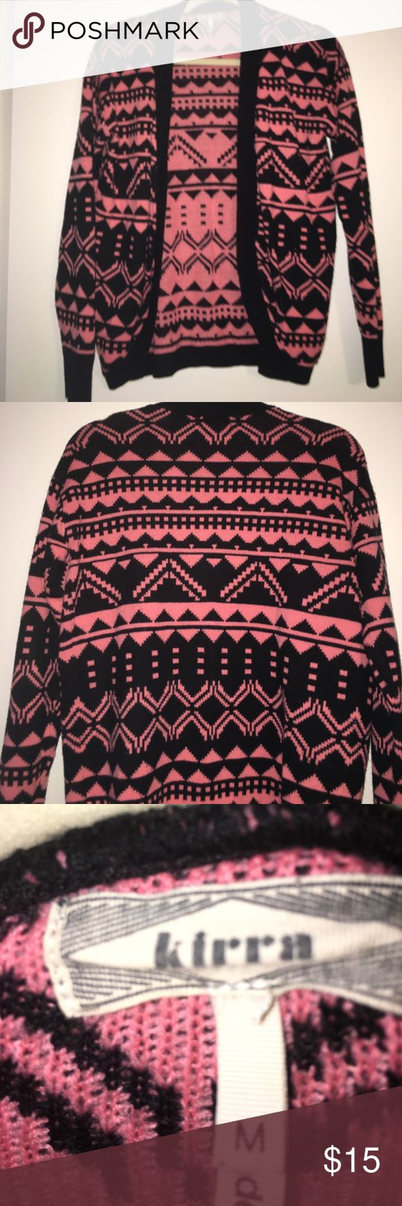 Aztec sweater Pink and black Aztec print cardigan from pacsun PacSun Sweaters Cardigans