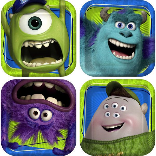 (8Ct) Monsters University Birhtday Party Cake Dessert Small Paper Plates