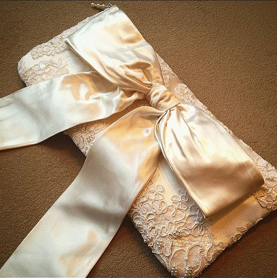 CUSTOM REPURPOSED bridal wedding clutch purse reuse by LoveAmarie