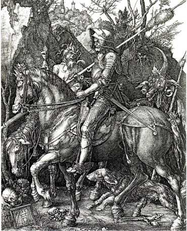 Albrecht Durer, Knight, Death and the Devil, engraving. It is said to symbolize that living a good Christian life will give you the strength and power to live a great life. The man on the horse is showing no emotion or worry that death is following right behind him. This engraving shows a lot about how strong Christian beliefs were in this era.